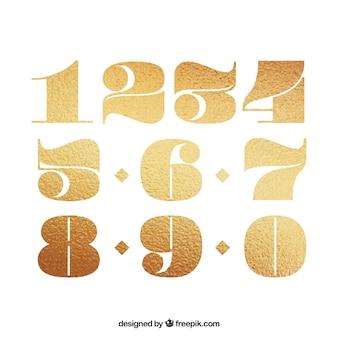 Nummerverzameling met gouden stijl