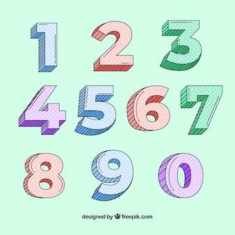 Nummerverzameling met hand getrokken stijl Gratis Vector