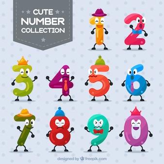Nummerverzameling met schattige karakters