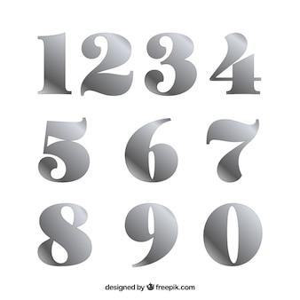 Nummerverzameling met zilveren stijl