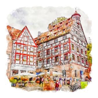 Nurnberg duitsland aquarel schets hand getekende illustratie