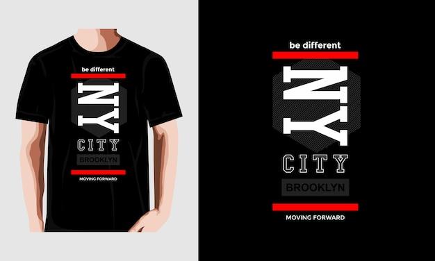 Nyc typografie t-shirt vectoren premium vector