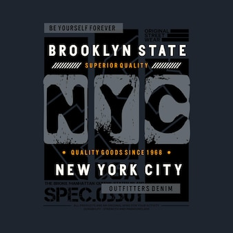Nyc typografie tshirt ontwerp premium vector