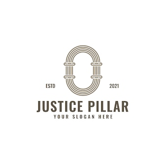 O brief logo justitie en advocatenkantoor pijler vet professionele lijntekeningen