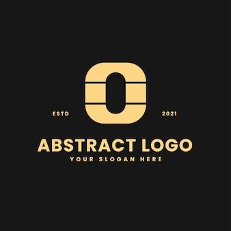 O letter luxe gouden geometrische blok concept logo vector pictogram illustratie