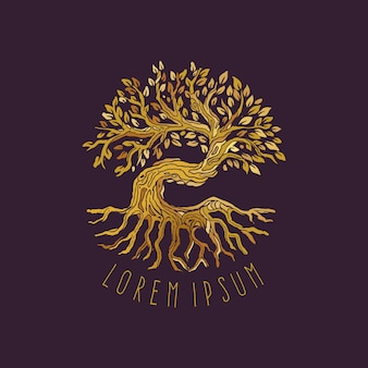 Oak tree of wisdom illustration logo design