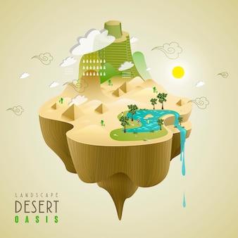 Oase in het woestijnconcept in 3d isometrisch vlak ontwerp