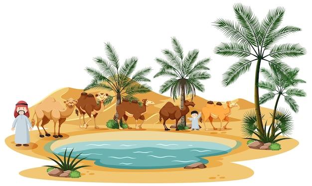 Oase in woestijn met kameel en natuurelementen op wit