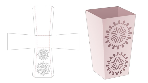 Obelisk briefpapierdoos met gestencilde mandala gestanste sjabloon