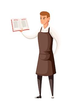 Ober die het uniforme boek van het holdingsmenu draagt