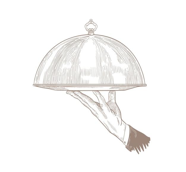 Ober's hand met dienblad voor het serveren van eten