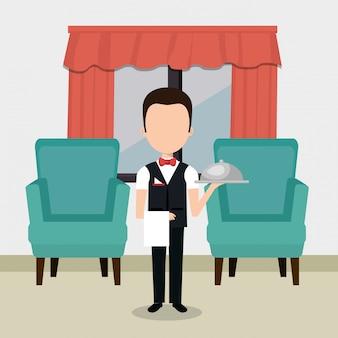 Ober werkt in het karakter van het hotel