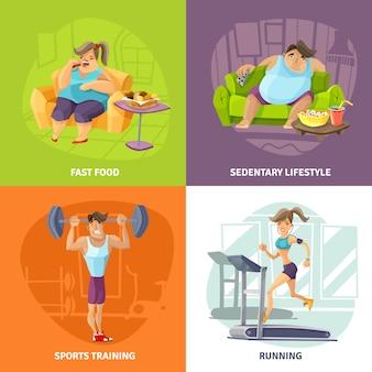 Obesitas en gezondheid concept icons set