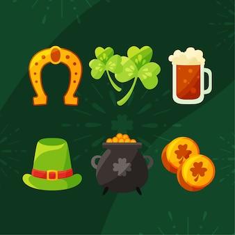Objecten en drank st. patrick's day elementen