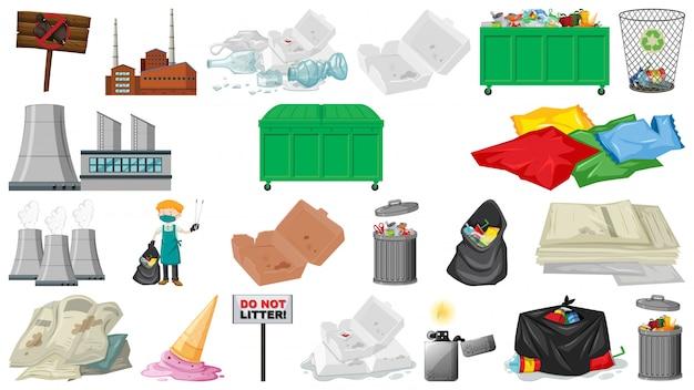 Objecten voor vervuiling, afval, afval en afval worden geïsoleerd