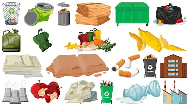 Objecten voor vervuiling, zwerfafval, afval en afval geïsoleerd
