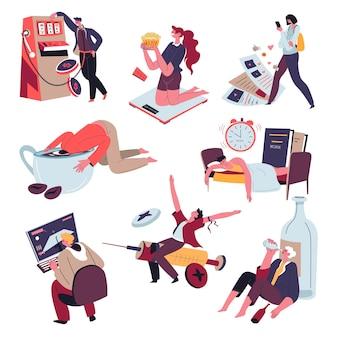 Obsessies en verslavingen van mensen. problemen met lichamelijke en geestelijke gezondheid. alcoholisme en drugsmisbruik, gokken en te veel eten, videogames spelen en koffie drinken. vector in vlakke stijl