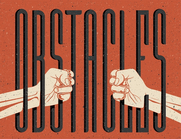 Obstakels concept illustratie. twee handen silhouet houden obstakels woord als achter de tralies. beperkingen van vrijheid concept. vintage stijl illustratie.