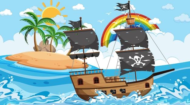 Oceaan met piratenschip bij dagscène in cartoonstijl
