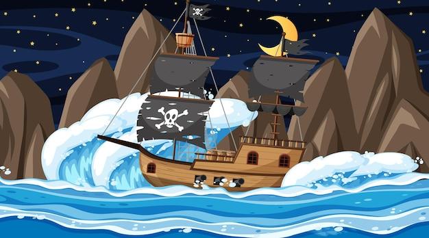 Oceaan met piratenschip bij nachtscène in cartoonstijl