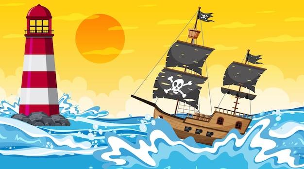 Oceaan met piratenschip bij zonsondergang tijdscène in cartoonstijl