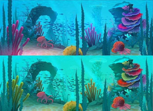 Oceaan of zee onderwater achtergrond met cartoon vis