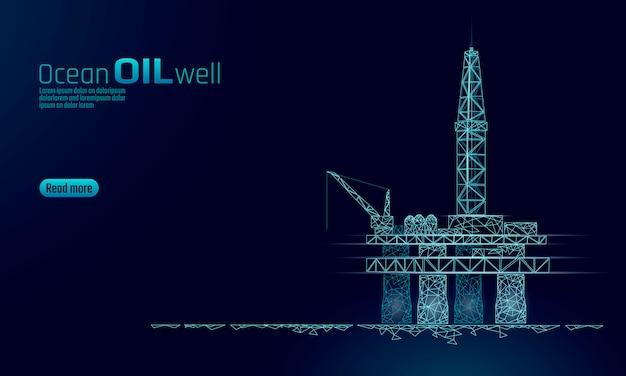 Oceaan olie gas booreiland laag poly bedrijfsconcept. financiën economie veelhoekige benzine-productie. aardolie-industrie offshore-extractie boortorens lijn verbinding stippen blauwe vectorillustratie