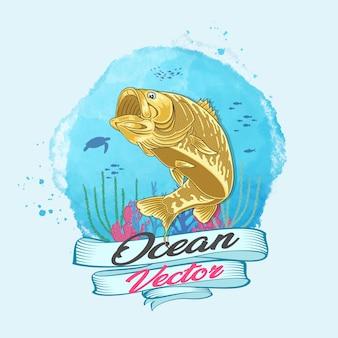 Oceaan vector gouden vissen in diepe watervector