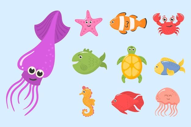 Oceaan zeedieren waterplanten grappige tropische onderwaterwezens exotische aquariumvissen set