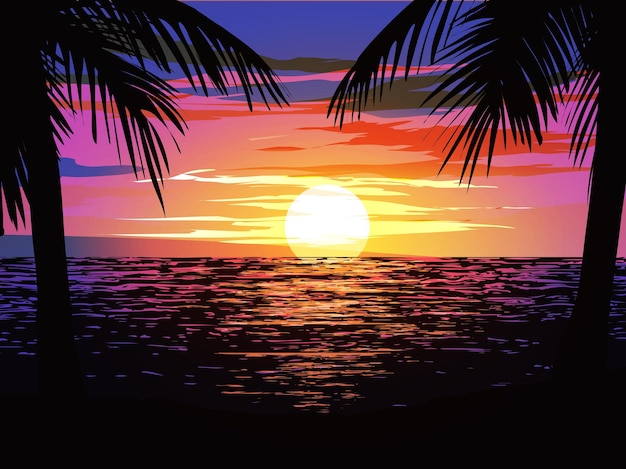 Oceaan zonsondergang landschap met palmbomen