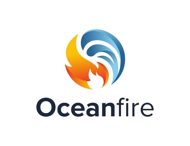 Oceaangolf en vuur eenvoudig gestroomlijnd creatief geometrisch modern logo-ontwerp