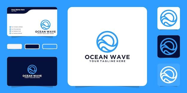 Oceaangolven logo-ontwerpinspiratie met lijnkunststijl en visitekaartjeinspiratie