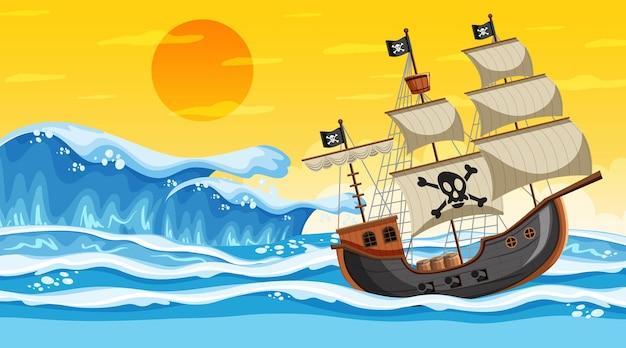 Oceaanscène bij zonsondergang met piratenschip in cartoonstijl