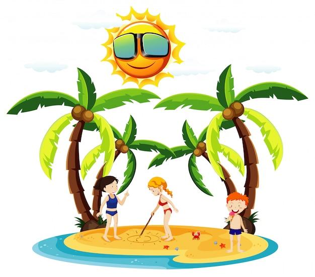 Oceaanscène met kinderen die op het strand spelen