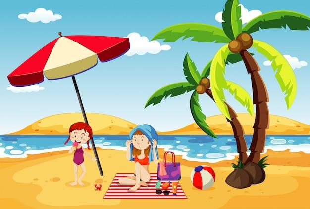 Oceaanscène met mensen die pret op het strand hebben