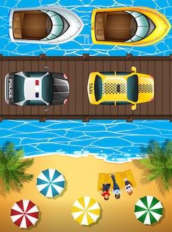 Oceaanscèneachtergrond met boten en auto's