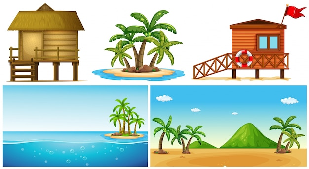 Oceaanscènes met eiland en badmeesterhuis