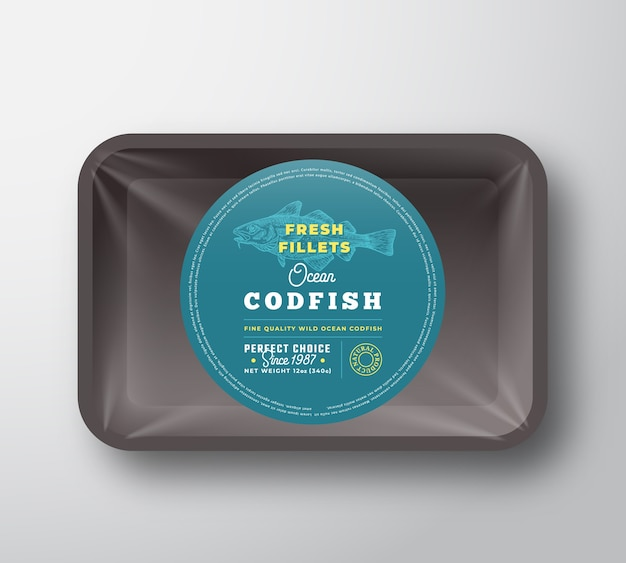 Ocean codfish fillets container