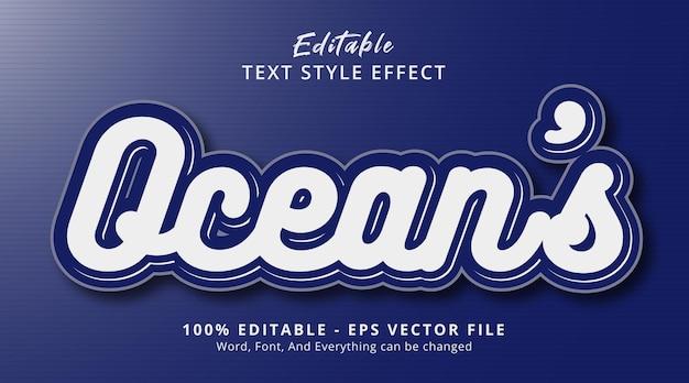 Ocean's tekst op modern diepblauw stijleffect, bewerkbaar teksteffect