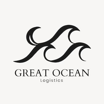 Ocean wave logo sjabloon, water business, geanimeerde grafische vector