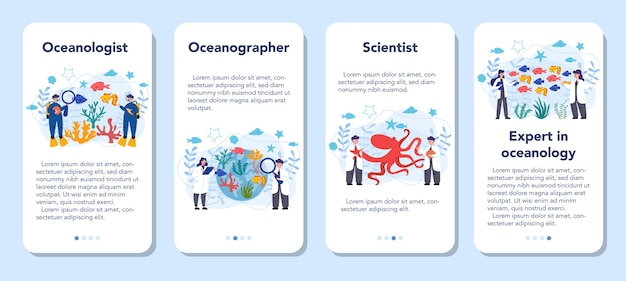 Oceanoloog mobiele applicatie banner set. oceanografie wetenschapper. praktisch alle aspecten van de oceanen en zeeën van de wereld bestuderen.