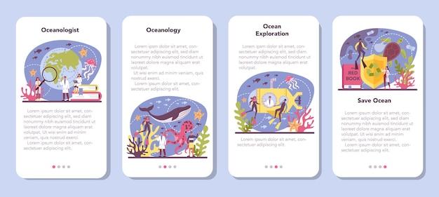 Oceanoloog mobiele applicatie banner set
