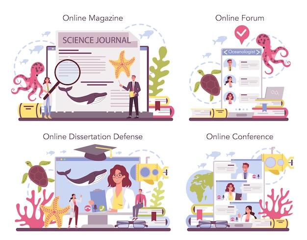 Oceanoloog online service of platformset. praktische studie en verkenning van de oceaan van de wereld.