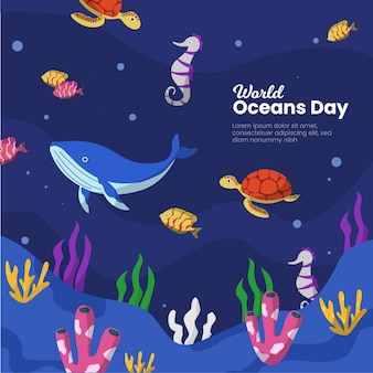 Oceans day evenement sjabloonontwerp