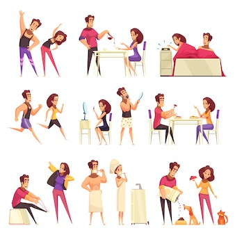 Ochtend cartoon set