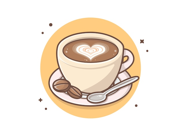 Ochtend een kopje koffie met lepel en liefde teken vector illustraties illustratie