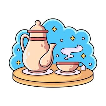 Ochtend met kopje thee cartoon.