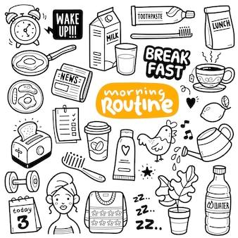 Ochtend routine activiteit en objecten zwart-wit doodle illustratie