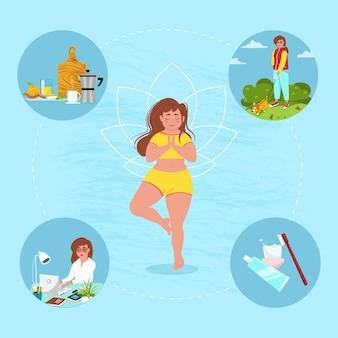 Ochtend routine concept. het meisje mediteert. vectorillustratie in vlakke stijl.