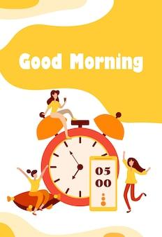 Ochtend wakker alarm en gelukkig, mensen karakters verheugen zich aan het begin van een nieuwe dag. opladen op het kussen en vrolijke sfeerfiguren in platte stijl. vector illustratie.